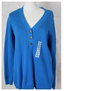 Charter Club Plus Size Button V Neck Sweater